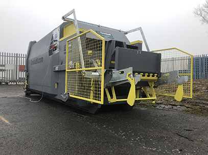 Aulds Bakery GPC P24 portable wet waste compactor & Bin Lifter Grey Model 4.