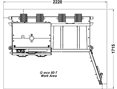 Gradeall G-eco 50-T Work Area Dimensions