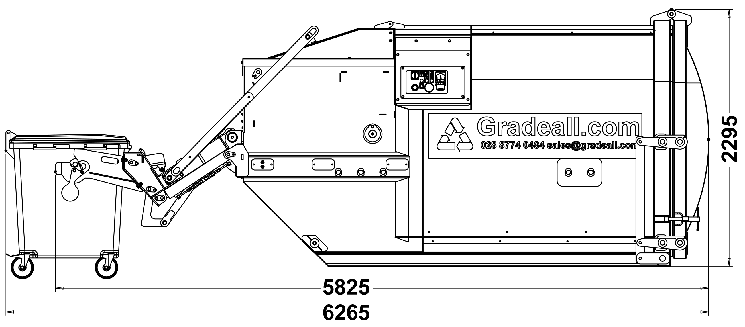 Gradeall GPC P9 - Bin Lift - Side View - Bin .Down