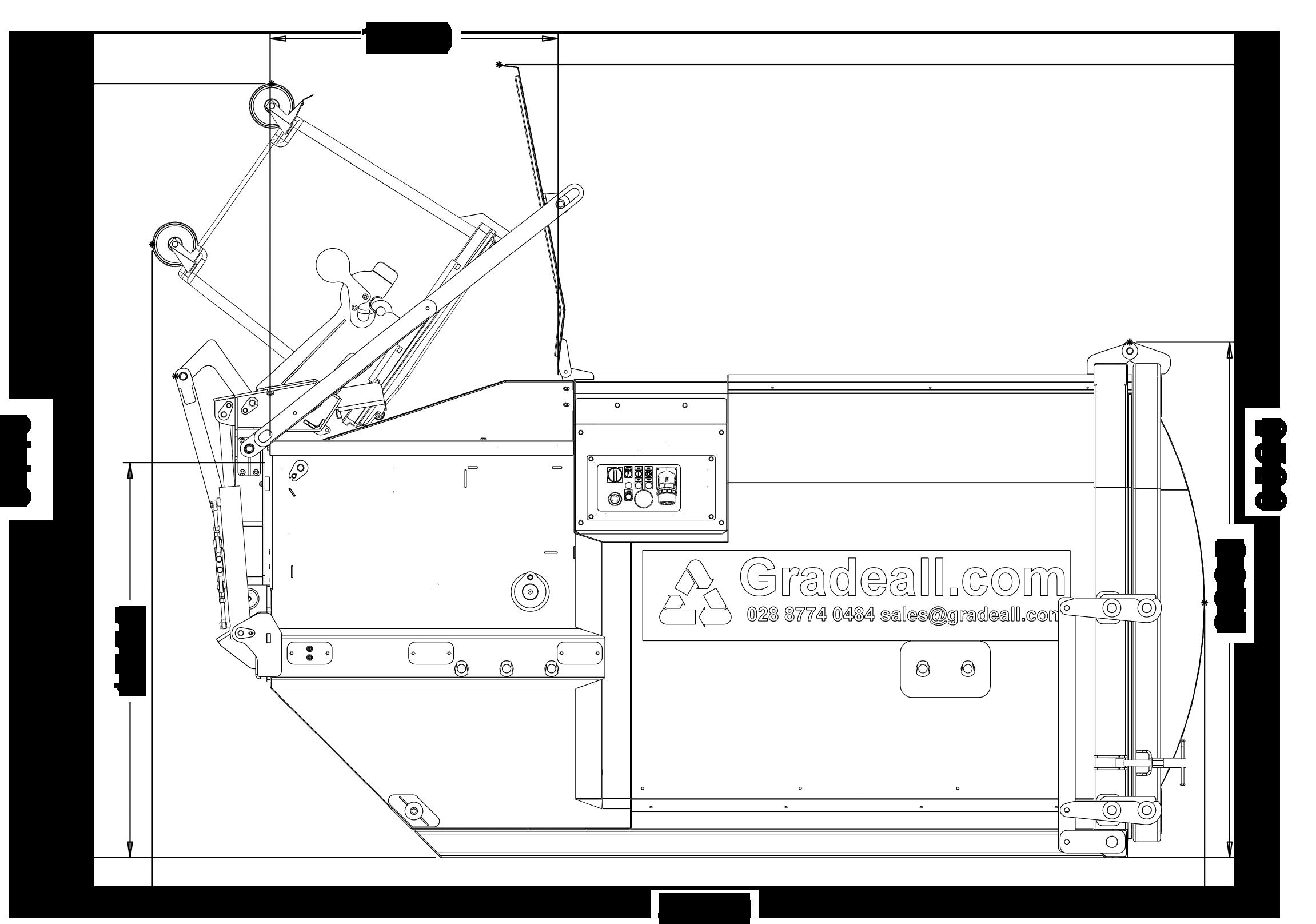 Gradeall GPC P9 - Bin Lift - Side View - Bin Down