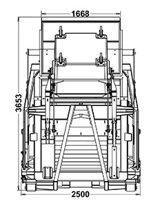 Gradeall P24 Bin Lift Bin Up Front view Dimensions