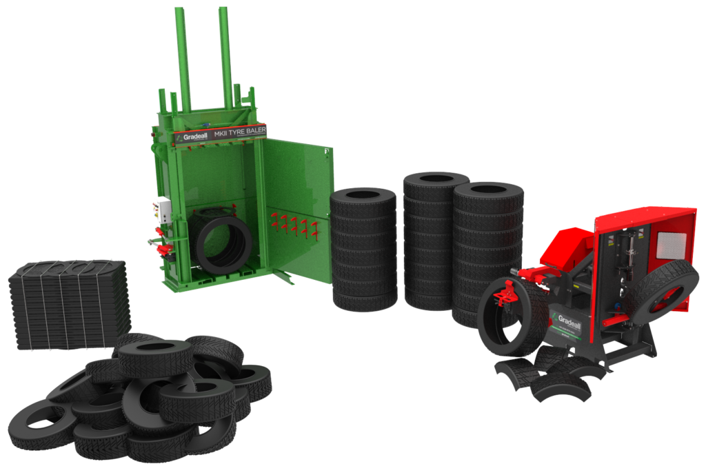 Gradeall Tyre Recycling Equipment Range - Bale and Dissect waste tyres